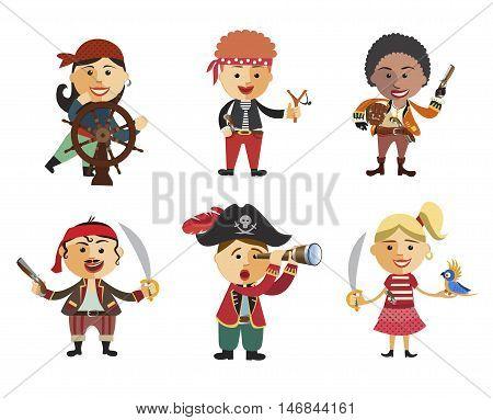 Illustration of set of pirates. Сartoon pirate icon set flat cartoon vector illustration. Eps10. Isolated on a white background.