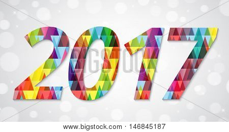 Abstract polygonal background with text and 2017 greeting NewYear card design