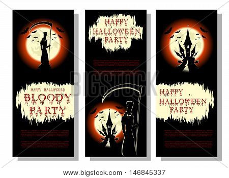 Set of Halloween background or flyer: death with scary scythe bats castle and bloody title in cartoon style. Concept design for banner poster invitation or ticket on party. Vector illustration