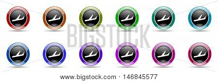 arrivals round glossy colorful web icon set
