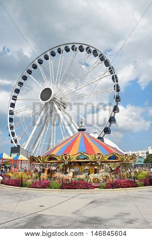 CHICAGO, ILLINOIS - SEPTEMBER 5, 2016: The new attraction, dubbed the Centennial Wheel in honor of the Lake Michigan landmark's 100th anniversary.