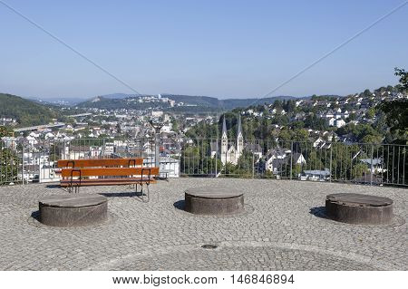 Platform with a view over the city of Siegen. North Rhine Westphalia Germany
