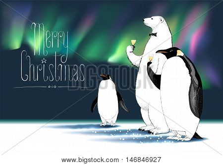 Merry Christmas vector greeting card. Penguin, polar bear cute characters drinking glass of champagne, Northern lights on background, at a Christmas party funny illustration