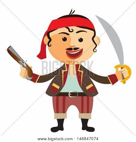 Brave pirate with pistol isolated on a white background.Vector. flat cartoon illustration. Eps10. Isolated on a white background.