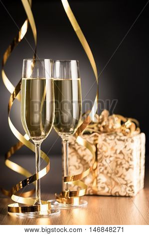 Champagne Glasses with Streamers and Gift Box