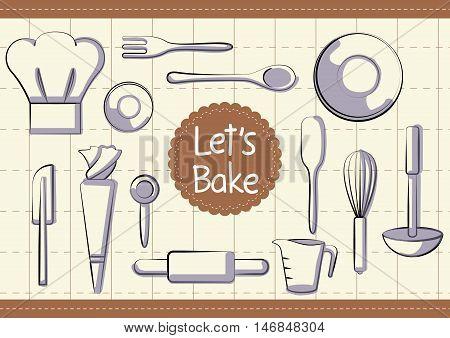 chef bakery ware kitchen vector equipment set