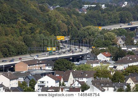 SIEGEN GERMANY - SEP 8 2016: Highway B54 running through the city of Siegen. North Rhine Westphalia Germany