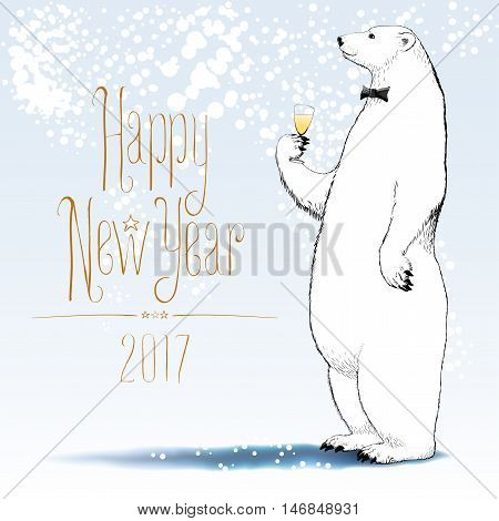 Happy new year 2017 vector greeting card. Polar bear with bowtie character drinking glass of champagne funny nonstandard illustration. Design element with Happy New Year text hand drawn lettering