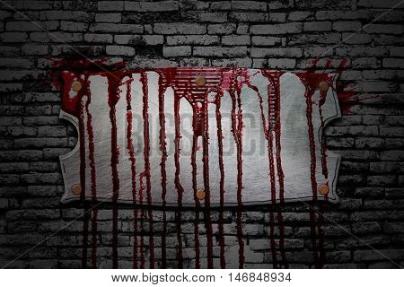 set 8. bloody signboard on brick wall in the dark for horror content and halloween festival. 3d illustration.
