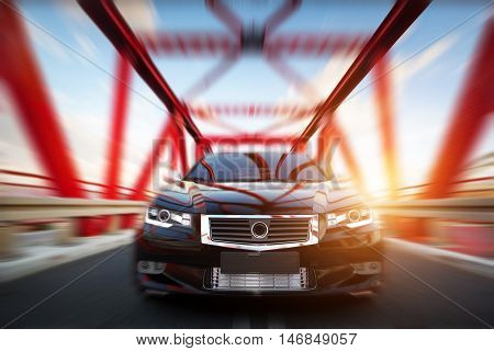 Modern black metallic sedan car on the bridge road. Generic desing, brandless. 3D rendering.