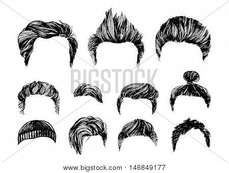 Hand drawn hair styles vector set