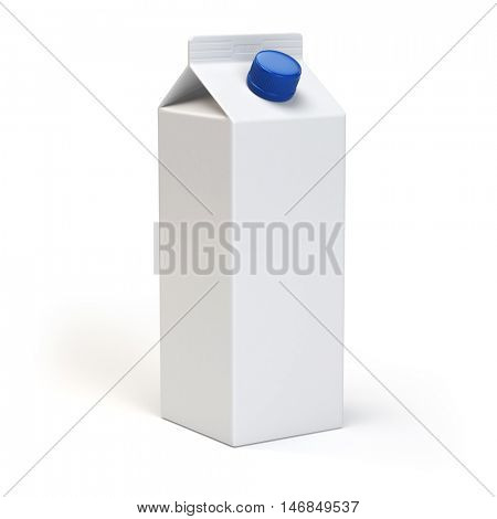 Milk or juiice blank white carton pack Isolated on white. 3d illustration
