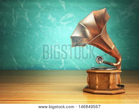 Vintage gramophone on green background. 3d illustration