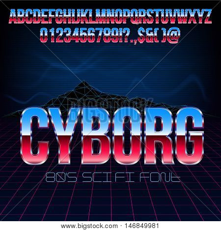 Blue Red Glossy Silver Metal Font Set for Retro Sci-Fi 80's 90's Style Title Designs, Vector Collection