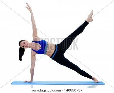 woman fitness pilates exercices isolated