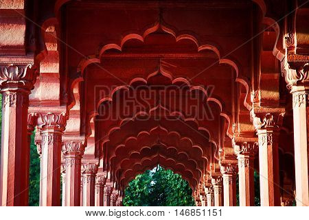 Arcade at the Red Fort, Delhi, India. Evening light