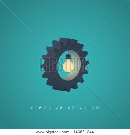 Creative solution business vector symbol with gear and a lightbulb. Business concept for creativity, technology, engineering. Eps10 vector illustration.