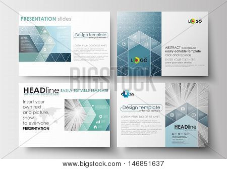 Set of business templates for presentation slides. Easy editable abstract layouts in flat design. Abstract blue or gray business pattern with lines, modern stylish vector texture.