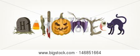 Halloween holiday greeting compiled from halloween objects or symbols. Vector illustration.
