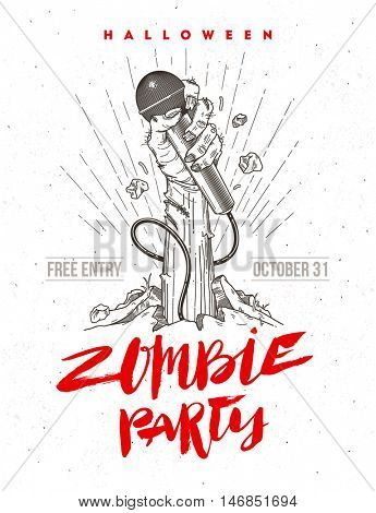 Zombie hand with microphone from ground - invitation for halloween karaoke party. Line art illustration and hand drawn brush calligraphy.