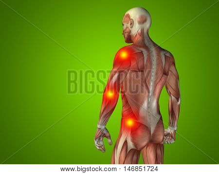 Conceptual 3D illustration human man anatomy upper body or health design, joint or articular pain, ache or injury on green background