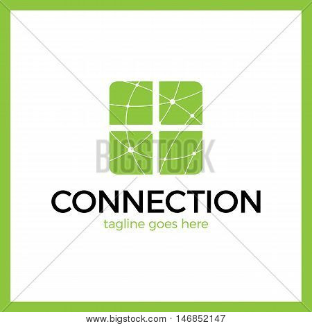 Design Abstract Four Square Logo Element. Crushing Round Rectangle Pattern. Connection Digital Line