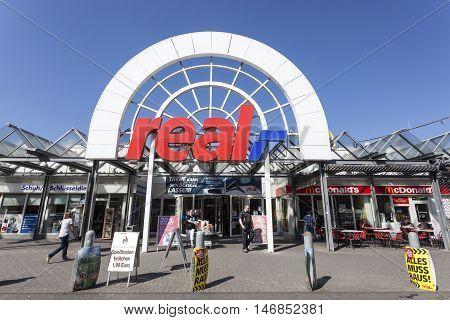 SIEGEN GERMANY - SEP 8 2016: REAL hypermarket store in the city of Siegen. North Rhine Westphalia Germany