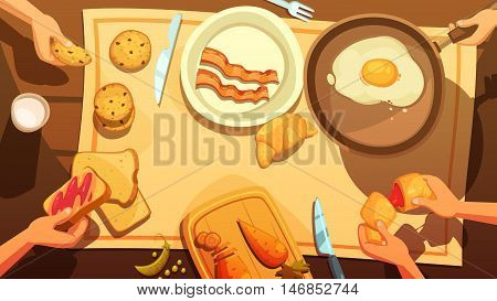 Breakfast table top view in country style with fried eggs in pan plate with bacon peaces and hands holding cakes and croissants flat vector illustration