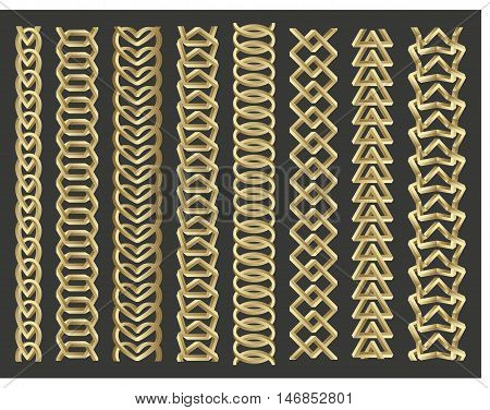 Geometrical border set. Chains made of impossible shapes. Vector illustration.