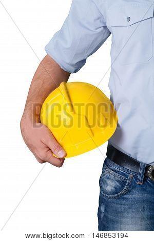 Construction Worker / Carpenter Holding Hard Hat
