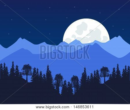 The Moon night and mountains with wood.Vector illustration