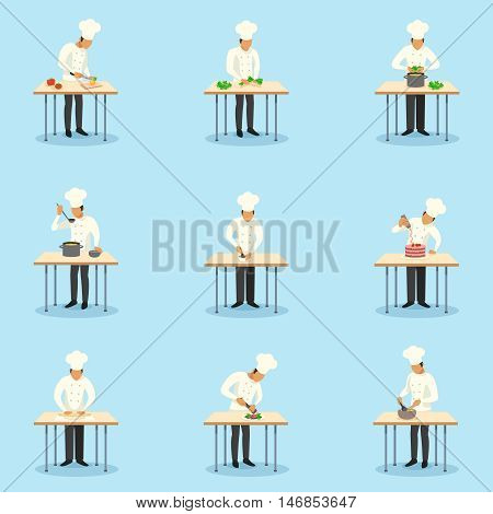 Cook profession icons set on blue background flat isolated vector illustration