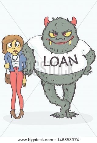 Cartoon of worried, exhausted woman and loan monster leaned on her. Funny vector illustration of loan concept.