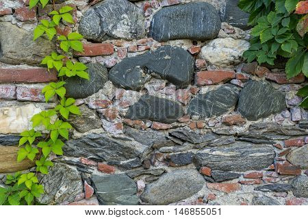 Leaves and medieval wall. Brick and stone masonry in the old walls of a medieval castle. Texture of old brick wall background.