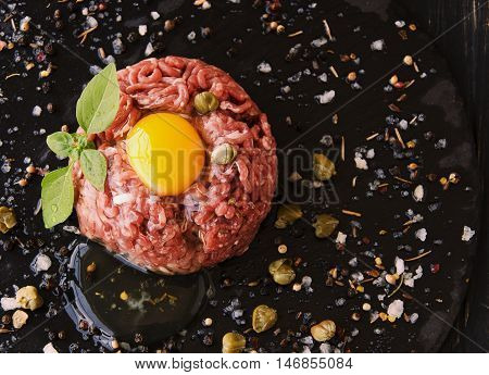 Steak Tartare Of Raw Minced Meat With Salt And Spices