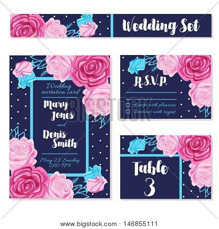 Set of different variants of wedding invitation template cards decorated with bouquets of roses flat vector illustration