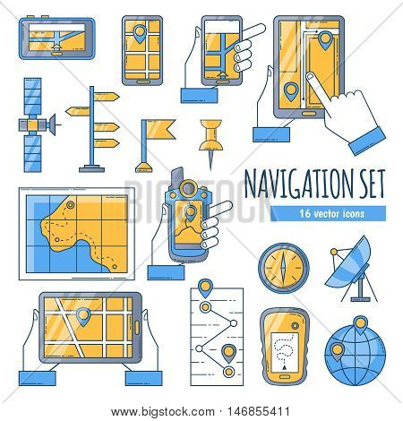 Navigation flat color icons set with map compass satellite dish and navigation app on mobile screen isolated vector illustration