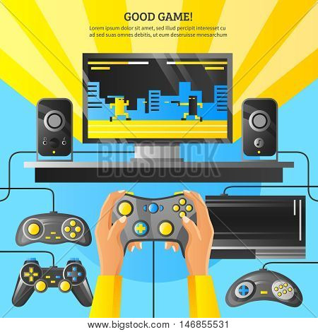 Game gadget flat vector illustration with computer on desktop loudspeakers joystick in male hands and wishing good game