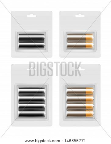 Vector Set of Two and Four Black Brown Golden Yellow Glossy Alkaline AA Batteries in Transparent Blister Packed for branding Close up Isolated on White Background.