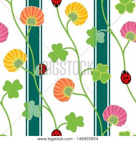 Seamless pattern with green clover shamrock ladybugs and ribbons on a white background. Vector illustration