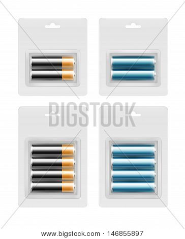 Vector Set of Two and Four Black Golden Yellow Blue Cyan Glossy Alkaline AA Batteries in Transparent Blister Packed for branding Close up Isolated on White Background.