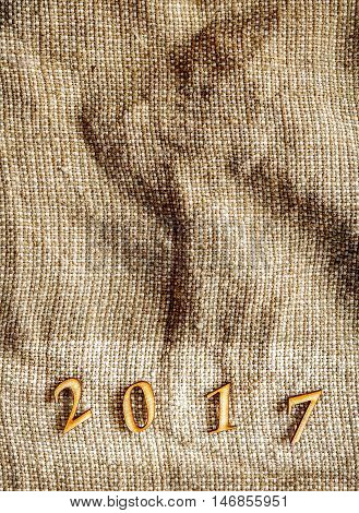 sackcloth texture for Christmas, New Year 2017 with space for text.