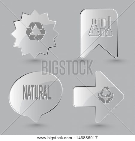 4 images: recycle symbol, chemical test tubes, natural, protection sea life. Ecology set. Glass buttons on gray background. Vector icons.