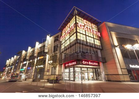 SIEGEN GERMANY - SEP 1 2016: The City Galerie shopping center and mall in the city of Siegen. North Rhine Westphalia Germany