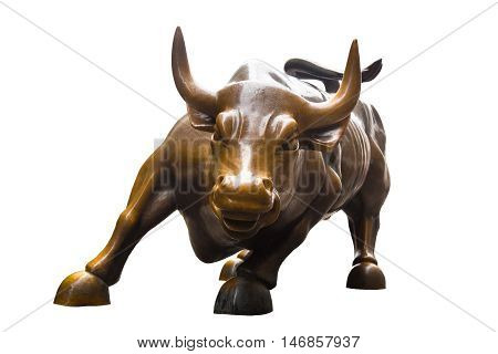 Charging Bull isolated on white background. Bull represents aggressive financial optimism and prosperity,