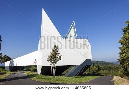 WILNSDORF GERMANY - SEP 8 2016: Exterior of a contemporary church on the highway station in Germany
