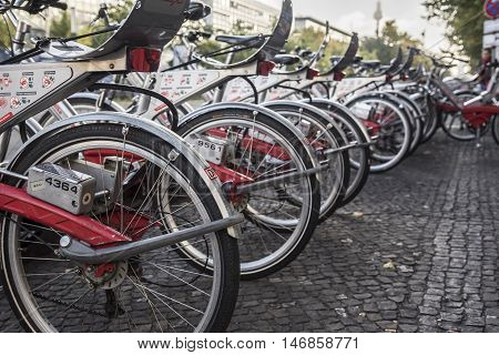 BERLIN - SEPTEMBER 21: Bicycle parking in Berlin on September 21, 2015. More than 15 percent of Berliners prefer bicycle as transportation.