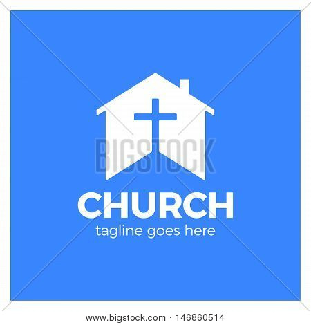 Home Church Logo. House Bible Logotype. Calvary Cross Silhouette Negative Space