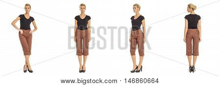 Young Sexy Blond Woman In Brown Shorts Isolated