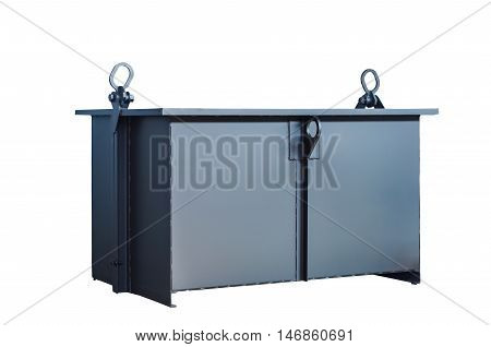 A large metal container on the production for transportation on an isolated background